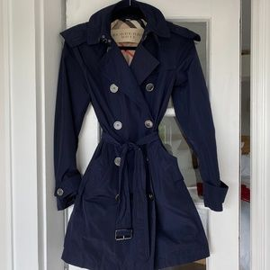 Burberry Balmoral Hooded Trench Coat Size S 4 Navy